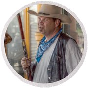 The Rifleman Round Beach Towel by Linda Unger