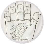 Antique Palmistry Diagram  The Right Hand, Principal Lines Round Beach Towel
