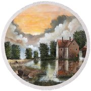 Round Beach Towel featuring the painting The River Gripping by Ken Wood
