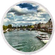Round Beach Towel featuring the photograph The River Seine Paris France Digital Water Color by Tom Prendergast