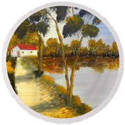 Round Beach Towel featuring the painting The Riverhouse by Pamela  Meredith