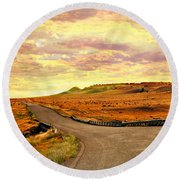 Round Beach Towel featuring the photograph The Road Less Trraveled Sunset by Marty Koch