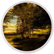 Round Beach Towel featuring the photograph The Road To Litlington by Chris Lord
