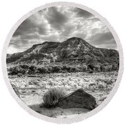 Round Beach Towel featuring the photograph The Road To Zion In Black And White by Tammy Wetzel