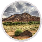 Round Beach Towel featuring the photograph The Road To Zion by Tammy Wetzel