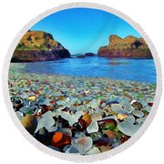 Glass Beach In Cali Round Beach Towel