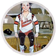 The Roller Derby Girl With A Black Eye Round Beach Towel