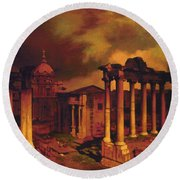 The Roman Forum Round Beach Towel by Blue Sky