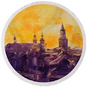 The Roofs Of Lublin Round Beach Towel
