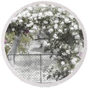 The Rose Arbor Round Beach Towel by Elaine Teague