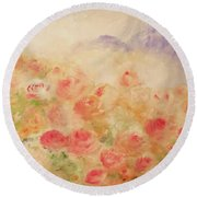 Round Beach Towel featuring the painting The Rose Bush by Laurie L