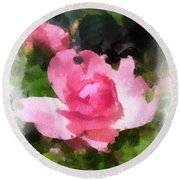 Round Beach Towel featuring the photograph The Rose by Kerri Farley
