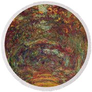 The Rose Path, Giverny, 1920-22 Oil On Canvas Round Beach Towel