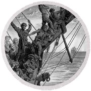 The Sailors See In The Distance A Ghostly Ship Round Beach Towel
