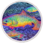 Round Beach Towel featuring the mixed media The Salmon King by Teresa Ascone