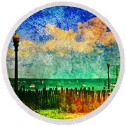 The Salty Air Sea Breeze In Her Hair IIi Round Beach Towel