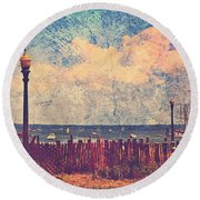 The Salty Air Sea Breeze In Her Hair Iv Round Beach Towel