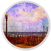Round Beach Towel featuring the photograph The Salty Air Sea Breeze In Her Hair V by Aurelio Zucco