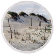 The Sands Of Obx Round Beach Towel by Greg Reed