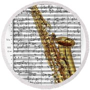 The Saxophone Round Beach Towel by Ron Davidson