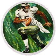 The Scambling Quarterback Round Beach Towel