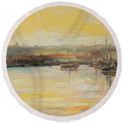 The Scarborough Harbour Round Beach Towel