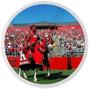 The Scarlet Knight And His Noble Steed Round Beach Towel by Allen Beatty