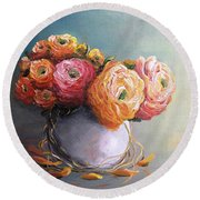 Round Beach Towel featuring the painting The Scent Of Flowers by Vesna Martinjak