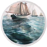 The Schooners Round Beach Towel by Eileen Patten Oliver