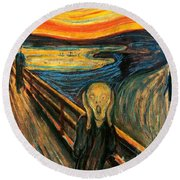 The Scream Edvard Munch 1893                    Round Beach Towel