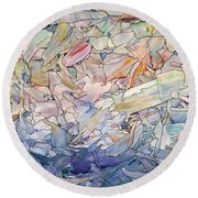 Fragmented Sea Round Beach Towel