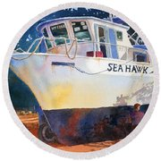 The Sea Hawk In Drydock Round Beach Towel
