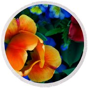 Round Beach Towel featuring the photograph The Secret Life Of Tulips by Rory Sagner