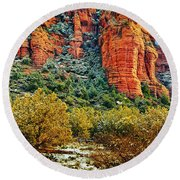 Round Beach Towel featuring the photograph The Secret Mountain Wilderness In Sedona Back Country by Bob and Nadine Johnston