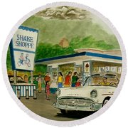 The Shake Shoppe Portsmouth Ohio 1960 Round Beach Towel by Frank Hunter