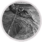 The Ship Sinks But The Mariner Is Rescued By The Pilot And Hermit Round Beach Towel