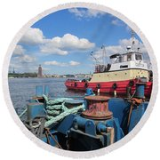 The Shipyard Round Beach Towel