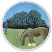 The Shire Horse, 2006 Oil On Canvas Round Beach Towel
