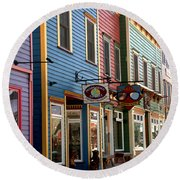 The Shops In Crested Butte Round Beach Towel by RC DeWinter