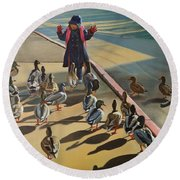 Round Beach Towel featuring the painting The Sidewalk Religion by Thu Nguyen