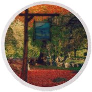 The Sign Of Fall Colors Round Beach Towel by Jeff Folger