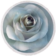 The Silver Luminous Rose Flower Round Beach Towel