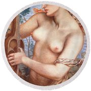 The Siren Round Beach Towel by Dante Charles Gabriel Rossetti