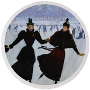 The Skaters Round Beach Towel
