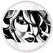 Black And White Abstract Woman Face Art Round Beach Towel
