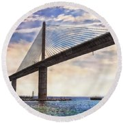 The Skyway Round Beach Towel