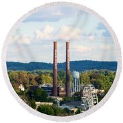 The Smoke Stacks Stand Resolute  Round Beach Towel