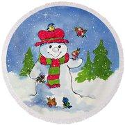 The Snowman Round Beach Towel by Diane Matthes