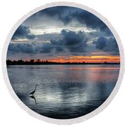 Round Beach Towel featuring the photograph The Solitary Fisherman - Florida Sunset by HH Photography of Florida