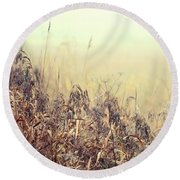 The Song Of Autumnal Grass Round Beach Towel